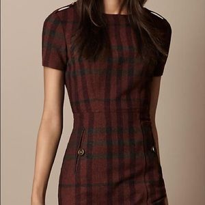 Burberry Red Black Plaid Wool Dress (size 8)